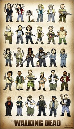 "Fifteen characters from the AMC's ""Walking Dead"", mostly Season 1-3. I started working on this fan art in October 2013 after I started watching the show. Was working on it on and off in my spare ti..."