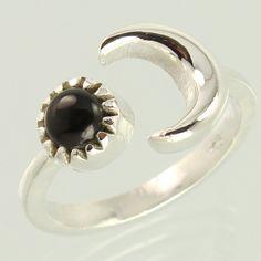 925 Sterling Silver Natural BLACK ONYX Gemstone Handmade Artisan Ring Size US 7…