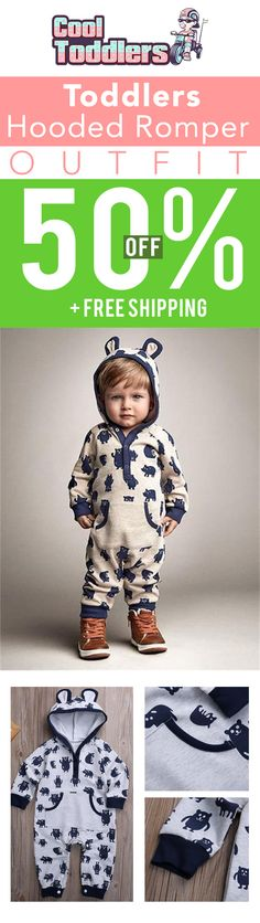 Toddlers Hooded Romper Outfit - Free Worldwide Shipping
