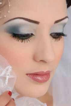 Soft steel grey makeup look