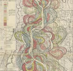 The white center is the Mississippi River, the colored curves on either side show former its former locations. Rivers move around a lot over time and adjacent land is much better for farming or parks than for housing, which is likely to flood.