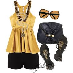 yellow and black summer outfit