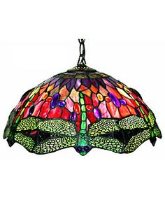 Tiffany Style Dragonfly Red Hanging Lamp  @Overstock - Brighten up your home decor with this Tiffany Style Dragonfly Red Hanging Lamp  Hanging lamp colors include red, green, and purple  Colorful lamp features more than 240 pieces of cut glass and 60 jewelshttp://www.overstock.com/Home-Garden/Tiffany-Style-Dragonfly-Red-Hanging-Lamp/2549369/product.html?CID=214117 $104.99
