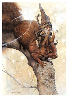 The squirrels could always be counted on to help the traveling Gnomes. by- Jean-Baptiste Monge Art And Illustration, Illustrations, Fantasy Kunst, Fantasy Art, Kobold, Fairy Art, Magical Creatures, Fantasy World, Faeries