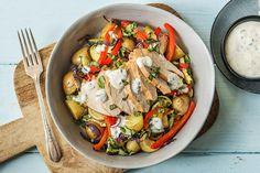 Salade met gerookte kip, krieltjes en yoghurtsaus