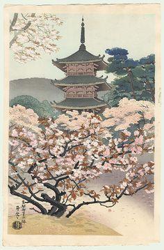 Cherry Blossoms at Omuro Pagoda (Spring) by Benji Asada (1899 - 1984). Original Benji Asada (1899 - 1984) Japanese Woodblock Print