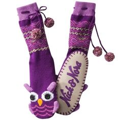 Nick & Nora Purple Owl Knit Sweater Slipper Socks with Pom Poms Small Medium Owl Socks, Nick And Nora, Best Slippers, Purple Owl, Xmas Gifts, Christmas Presents, Christmas Ideas, Slipper Boots, All Things Purple