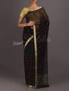 Revati Rosy Red Leaves With Gold Lace Border Pure #MysoreChiffonSaree