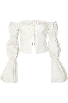 Cult Gaia Claire Off-The-Shoulder Cotton-Blend Poplin Top Girl Fashion, Fashion Outfits, Womens Fashion, Fall Shirts, Linen Shorts, Ready To Wear, Cute Outfits, My Style, Cotton