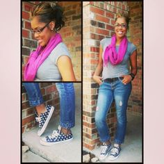 Comfortable fashion!!! Ripped jeans, pink scarf with polka dot converse