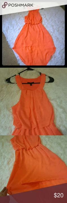Stunning Neon Tangerine High Low Flow Dress Stunning Neon Tangerine, High Low, Flow Dress with beautiful neckline Brand New w/o tags. City Triangles Dresses High Low