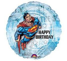 """Superman 18"""" Happy Birthday Mylar Balloon by Superman. $2.99. This 18"""" mylar balloon features Superman against articles from the Daily Planet and reads """"Happy Birthday"""" Great in a balloon bouquet or as a single party decoration,"""