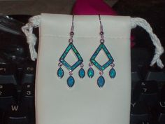 LOOK!!!! A GORGEOUS PAIR OF STERLING SILVER GENUINE AUSTRALIAN BLUE FIRE OPAL DANGLE EARRINGS
