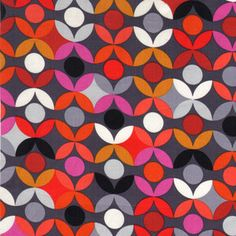 Timeless Treasures Fabric- Bright Lights Big City Collection - Abstract Flower Geo- Charcoal