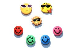 Set of 7 Smiley Faces Jibbitz Style Your Crocs Fun Clips Charms With Extra by La Demoiselle. $7.49. Press the holder of the Shoe Charms with a slight twist in the holes of the shoes. Croc Charms, Smiley Faces, Crocs, Shoe, Fun, Accessories, Fin Fun, Zapatos, Smileys