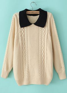 Beige Contrast Lapel Cable Knit Loose Sweater - Sheinside.com