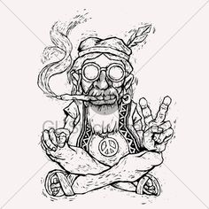Image detail for -... Hippie Smokes Marijuana And Shows The Peace Symbol · GL Stock Images