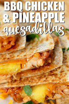Spicy and sweet this recipe for BBQ Chicken & Pineapple Quesadillas will make your mouth water! Spicy and sweet this recipe for BBQ Chicken & Pineapple Quesadillas will make your mouth water! Baby Food Recipes, Beef Recipes, Mexican Food Recipes, Chicken Recipes, Cooking Recipes, Chicken Dips, Potluck Recipes, Recipes Dinner, Dinner Ideas