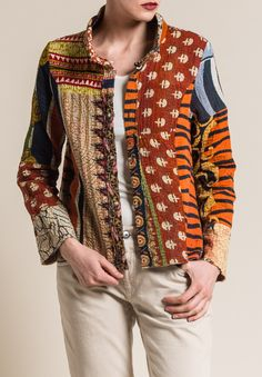 Mieko Mintz Vintage Cotton Mandi Jacket in Rust/Cream - Nahen Shirt Embroidery, Bohemian Mode, Vintage Cotton, Business Outfits, Saris, Piece Of Clothing, Sewing Clothes, Refashion, Boho Fashion