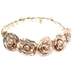 Forever 21 Metallic Flower Crown (7.54 CAD) ❤ liked on Polyvore featuring accessories, hair accessories, jewelry, crowns, hats, forever 21 headbands, rose crown, leaf headband, headband hair accessories and floral crown headband