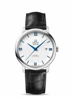OMEGA Watches: De Ville Prestige Co-Axial - White gold on leather strap - 424.53.40.20.04.001