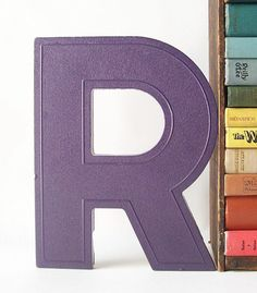 vintage marquee sign letter R purple business signage industrial modern wall…