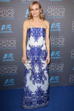 Diane Kruger in a blue and white printed brocade gown by Naeem Khan. #CriticsChoice Awards 2015