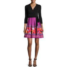 Diane von Furstenberg 3/4-Sleeve Combo Wrap Dress, Black Floral Beet for buy >>>$$price $548.00 At : Top10dresses #Diane-von-Furstenbergdress #Diane #von #Furstenberg #3/4-Sleeve #Combo #Wrap #Dress #Black #Floral #Beet #for #buy