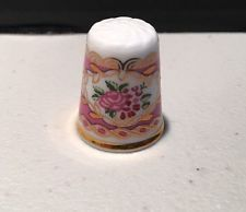 Hammersley England Bone China Pink Flowers Porcelain Thimble Collectible Sewing