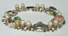 Vintage Art Deco Gold Bracelet Rhinestones Pearls Warriors Gem Stone #Unbranded #Beaded