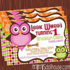 Owl Invitation- Printable Owl Birthday Invitation PDF/JPEG.