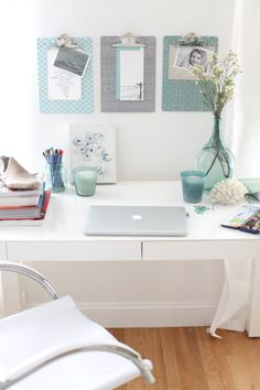 I really like this colour scheme. I wonder if I can get my office so 'bright' and airy looking?