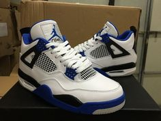 MENS AJ 4 AIR JORDAN 4 RETRO MOTORSPORT WHITE VARSITY ROYAL- BLUE