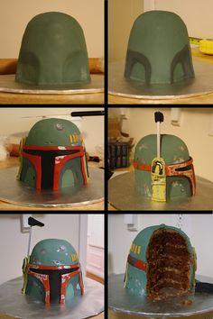 Star Wars - Boba Fett Cake for my birthday Star Wars Party, Star Wars Cake, Burger Torte, Aniversario Star Wars, Star Wars Food, Creative Cakes, Creative Desserts, Boy Birthday, Birthday Cakes