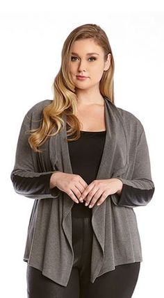 PLUS SIZE GREY AND BLACK FAUX LEATHER CUFF CARDIGAN #Karen_Kane #Grey #Black #Plus_Size_Cardigans #Faux #Leather #Cuff #Cardi #Cardigan #Plus_Size #Womens #Cardigans #Winter #Fashion #Jackets