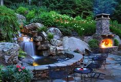 Backyard Waterfall, Waterfall Lighting  Fountain and Garden Pond  Greenleaf Services Inc.  Linville, NC
