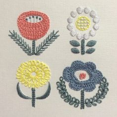 Japanese Embroidery Patterns Embroidery flowers - these stylised designs remind me of Scandi fabrics and pottery from the Sashiko Embroidery, Embroidery Works, Embroidery Transfers, Japanese Embroidery, Hand Embroidery Patterns, Vintage Embroidery, Embroidery Applique, Cross Stitch Embroidery, Floral Embroidery