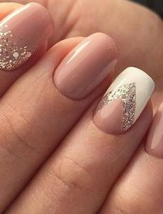 13 more elegant nail art designs for prom 2017 unhas decoradas delicadas, unhas delicadas, Glitter Gel Nails, Nude Nails, Diy Nails, Glitter Art, Nail Glitter Design, Blush Nails, Shellac Nails, Manicure Ideas, White Nails With Design