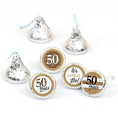 We Still Do - 50th Wedding Anniversary - Round Candy Labels Anniversary Party Favors - Fits Hershey