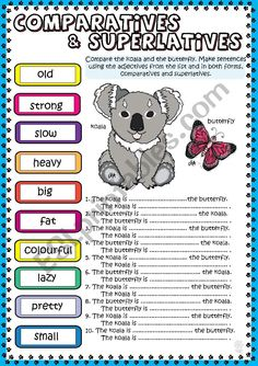 Comparatives & Superlatives The koala and the Butterfly English Adjectives, English Grammar Rules, English Grammar Worksheets, English Class, English Lessons, Learn English, Tenses Exercises, Grammar Posters, Vocabulary Instruction