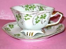 OCCUPIED JAPAN SQUARE TEACUP IVY LEAF & GOLD HAND PAINTED TEA CUP AND SAUCER