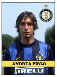 Andrea PIRLO; Brescia '95-98, INTER 1998-2001 (loan Reggina '99-2000 + loan Brescia 2000-01),  AC Milan,2001-11, Juventus 2011-15, New York City 2015 .... Milan Football, Andrea Pirlo, Ac Milan, Michael Jordan, Football Players, New York City, Barcelona, New York