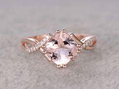 2.4 Carat Cushion Cut Morganite Engagement Ring Diamond Promise Ring 14k Rose Gold Split Shank Infinity Twisted Curved #cushioncutring