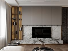 DE&DE/Interior with sophisticated nature on Behance Living Room Tv Unit, Home Living Room, Living Room Designs, Living Room Decor, Tv Unit Design, Tv Wall Design, House Design, Tv Shelf Design, Tv Console Design