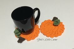 Pumpkin Coasters in bright orange from  Yeeli's Little Corner