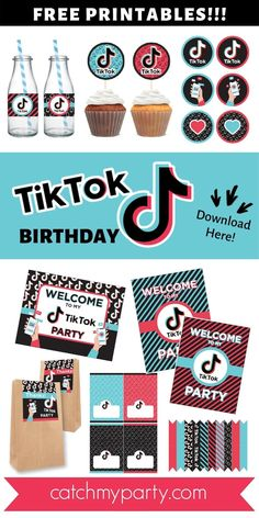 Click to download these free TikTok party printable decorations. There's everything you need to throw a great TikTok party. There are welcome signs, cupcake toppers, favor tags, tented food cards, straw flags, water bottle labels, and more! Get them now! | CatchMyParty.com #tiktok #tiktokparty #freeprintables #catchmyparty #freepartyprintables Free Baby Shower Printables, Party Printables, Free Printables, 13th Birthday, Birthday Parties, Food Cards, Party Themes, Party Ideas, Cute Box