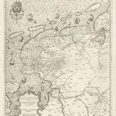 Kaart van Friesland, Groningen, Drenthe en Overijssel, Jacob Bos, naar Jacob van Deventer, 1558 - Rijksmuseum