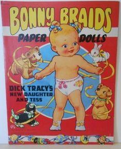 Bonny Braids Paper Dolls Saalfield 1951 Uncut (04/06/2013)