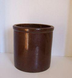 Antique 1 Gallon STONEWARE CROCK Primitive Dark Brown Salt Glaze