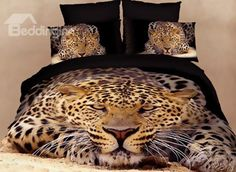 3D Crouching Leopard Printed Cotton 4-Piece Bedding Sets/Duvet Covers